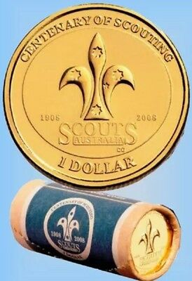 2008 Australian Scouts One Dollar $1 Uncirculated Coin - In a 2 x 2 Holder