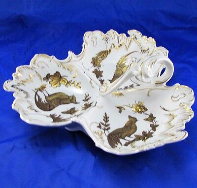 Vintage French Limoges Hand Painted Handled Serving Tray Bowl Ovington's 5th Ave