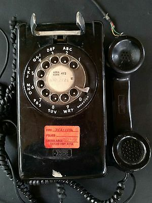 Tremendous Vintage Itt Wall Mount Rotary Telephone Black Dial Phone Untested Wiring Cloud Hisonuggs Outletorg