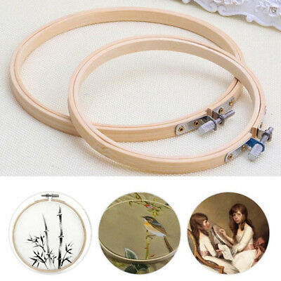 Bamboo Machine Embroidery Hoop Cross Stitch Frame Ring Wooden Round Practical
