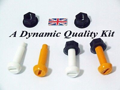 Front Rear  Number Plate Fitting 2 White Yellow Nylon Plastic Bolts Nuts Screws