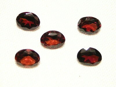 "Garnet Faceted Oval Cut Gemstone, 5 Pcs, 10 X 8 Mm, 9.7Ct ""new"" Auz Seller C145"