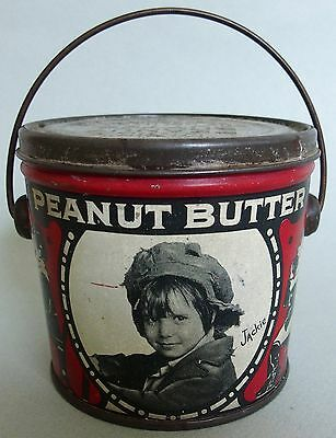 Very Htf Jackie Cooper Dixie Advertising Peanut Butter Tin W/embossed Lid & Bail