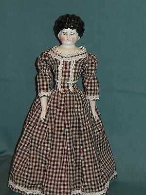 """Vintage China Head Doll..low Brow..muslin Body..17"""" Tall"""