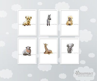 Set of 6 Safari Nursery Art Prints - 4 sizes available - no frames included