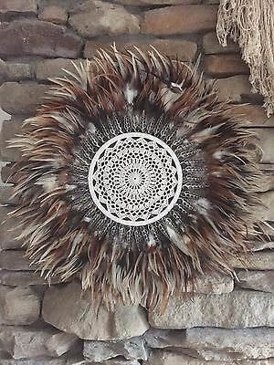 Tribal Crochet Feather & Shell JUJU Hat Plume Handcrafted Wall Decor Hanging