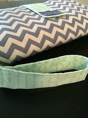 Nappy Clutch/ diaper wallet in Grey chevron and mint