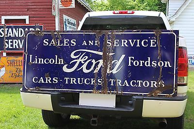 SCARCE EARLY 1920's FORD LINCOLN FORDSON CARS TRACTORS TRUCKS PORCELAIN SIGN