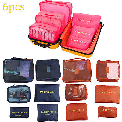 6Pcs Waterproof Travel Storage Bag Clothes Packing Cube Luggage Organizer CA