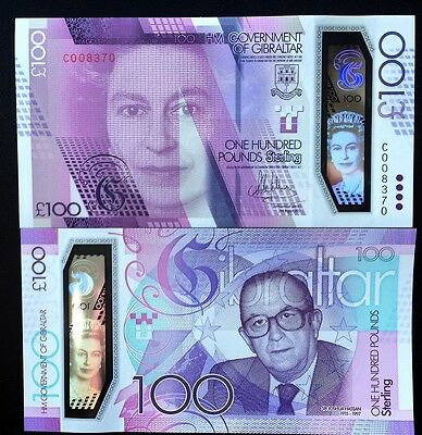 Gibraltar 100 Pounds 2015 / 2017 P New Comm Polymer Qe Ii Unc