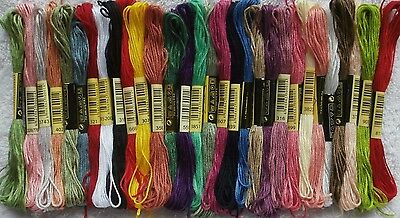 Stranded Cotton Embroidery Threads Assorted - 30 skeins - colours similar to DMC