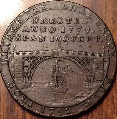Gb United Kingdom 1792 Shropshire Coalbrook Dale Halfpenny Token Magnificent !!!