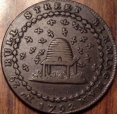 Gb United Kingdom 1792 Nottingham Halfpenny Token Magnificent !!!