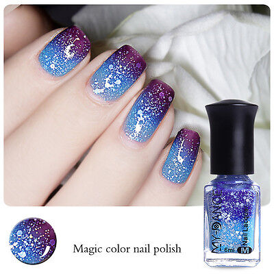 6ml Thermal Nail Art Polish Varnish Color Changing Peel Off Dark Purple to Blue