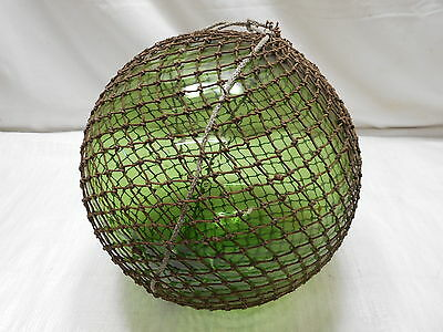 "Glass Fishing Float Blue/Green 12"" in NET Vintage Japanese Nautical Maritime"