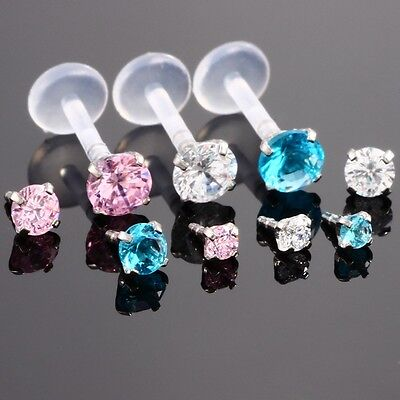 CZ Gem LIP RING LABRET MONROE Earring Stud Bioflex Piercing Bar 16G 5/16