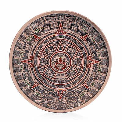 The Mayan Aztec Long Count Calendar Red Bronze Commemorative Coin Art Collection