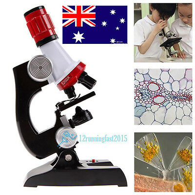 100X-1200X Microscope Kit Biology Lab LED Kids Students Science Educational Toy