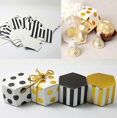 10/50/100pcs Mini Sweet Hexagon Candy Boxes Wedding Favour Favor Bags Party Gift