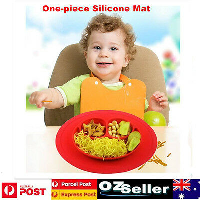 One-piece Silicone Mat Baby Kids Suction Table Food Tray Placemat Plate Bowl