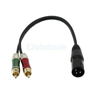 XLR Adapter Plug to 2 x Phono RCA Plug Adapter Splitter Cable Lead 30cm