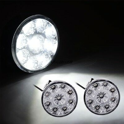 2X 9 LED DRL light Car Fog Lamp Round Driving Running Daytime HeadLight offroaad