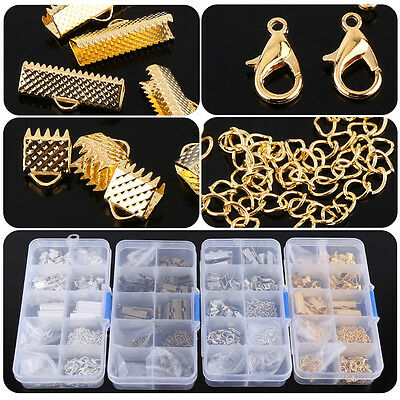 200X Jewelry Findings Making Parts Supplies Findings Clasp Jump Rings Kit Case