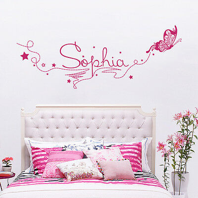 Girl Name Wall Decals Personalized Decal Butterfly Vinyl Sticker Nursery aa209