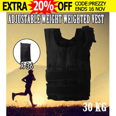 Adjustable Weight Weighted Vest 30 Kg Gym Exercise Fitness Training Waistcoat