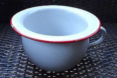 French Vintage Enamelware Chamber Pot White w/ Red Trim