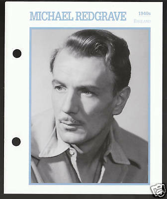 MICHAEL REDGRAVE Movie Star Picture Biography CARD