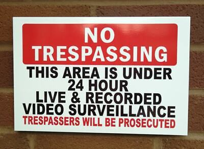1 No Trespassing Plastic Sign Large Size 3 or 5mm PVC  Weatherproof FREE POST!
