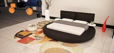 VIG Modrest Atlas Black Bonded Leather Round Queen Bed w/Built in Side Tables