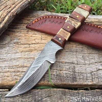 "6.5"" HAND MADE REAL DAMASCUS STEEL SKINNER HUNTING KNIFE Real Stag DM-1109"