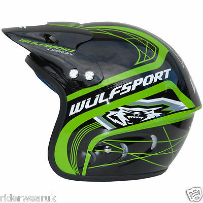 WULF TRIALS Casco Moto Trail Scooter Quad Casco Cross off Road Jet Enduro, Verde