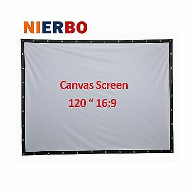 120 Inch Projector Screen High-definition Screen Portable White Curtain Panta...