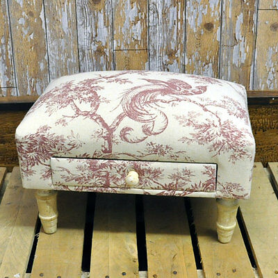 Red Bird Vintage French Style Toile Fabric Footstool with Drawer & Wooden Legs