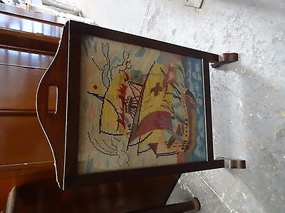 Vintage Antique plain wooden fireplace screen with needle point restoration