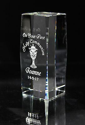 Holy Communion Crystal Pillar Gift with Personalised Engraving Penrose Waterford