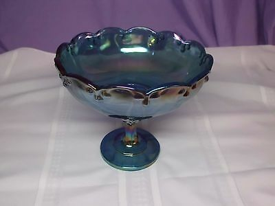 Vtg Indiana Blue Carnival Glass Compote Scalloped Edge w/ Teardrop Garland