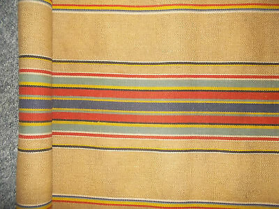 """Vintage French Striped Jute Like Fabric 60""""x16.5"""