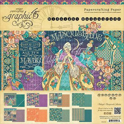 "Graphic45 Midnight Masquerade Double-Sided Paper Pad 8""X8"" 24/Pkg Motivblock"