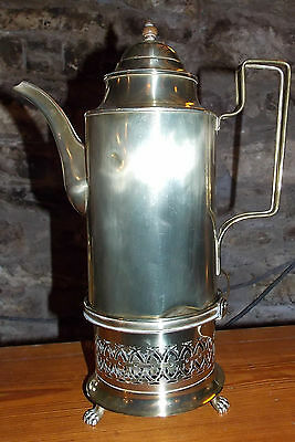 Antique Victorian large BRASS COFFEE POT on filigree stand lion feet wooden knop