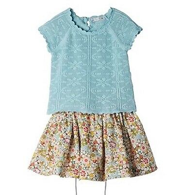 Bonpoint Baby Crochet Aqua Blue Sweater Top 3 Years