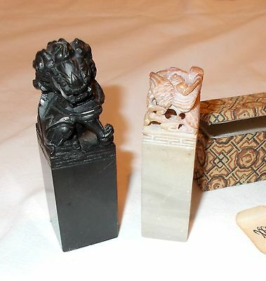 Two Carved Soap Stone Stamps
