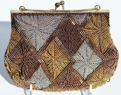 La Regale Gold Silver and Bronze Metallic Vintage Beaded Purse Small Evening Bag