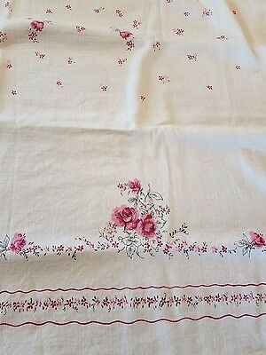 Vintage Shabby Pink Roses Chic Tablecloth American Beauty Table Cloth Fabric