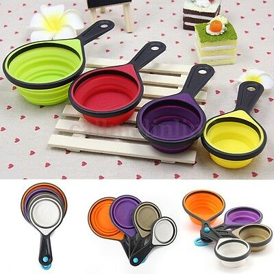 4Pcs Silicone Measuring Cups Spoon Kitchen Tool Collapsible Cake Kitchen Cooking