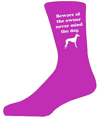 Beware of the Grey Hound On Hot Pink Socks,Great Birthday Gift,Novelty Socks.