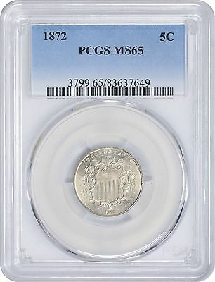 1872 Shield Nickel MS65 PCGS Mint State 65
